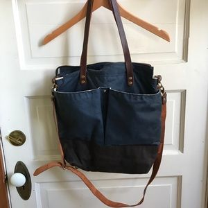 Handbags - Bookbag/purse! Navy and brown leather straps